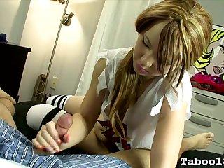 Pigtailed 18 pedigree old gives a handjob in bed