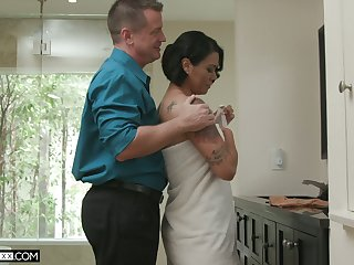 Hot blooded wife Dana Vespoli is cheating heavens her husband with bald headed neighbor