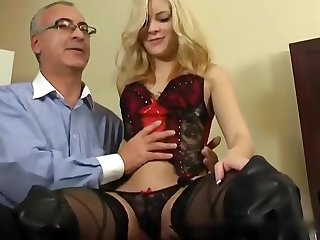 Cute Comme ci Teen Drilled wits Grey-haired Man