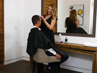 Horny hairdresser Shauna Skye drops on her knees in the matter of suck client's dick