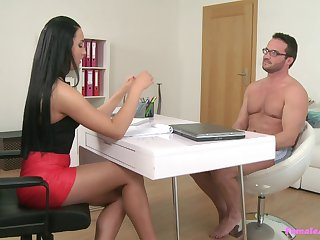 Horny stud gets a chance to prove him self to his naughty boss