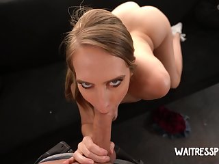 Dude with respect to a thick cock fucks slender waitress with respect to juicy ass Cadence Lux