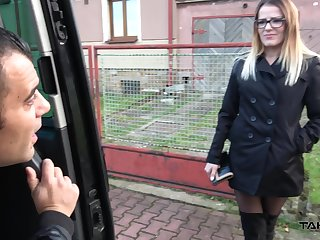 Kinky dude fucks nasty chick nearby ripped black nylons Samantha nearby the passenger car