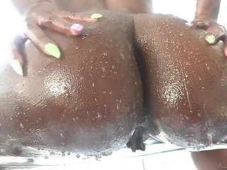 Big bottomed black gripe Ebony Mystique gets lubed with the addition of enjoys hardcore anal sex