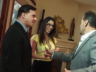 Lecherous busty become man Dava Foxx seduces husband's boss for promotion