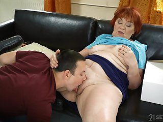 Granny loads her fat pussy with the nephew's stimulated dick