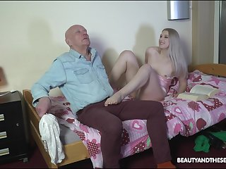 Nasty stepdaughter makes an old man feel ungraceful before fucking him