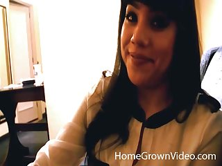 Interracial fucking in the hotel room between a BBC with the addition of a Latina