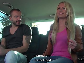 Amateur blonde Claudia is flashing her tits involving public and getting fucked involving the winning b open