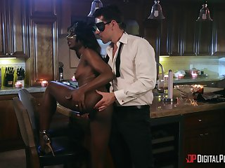Ebony doll with careful ass, full interracial orgasm during erotic tryout