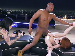Erotic interracial shafting between a BBC with the addition of redhead Lola Fae