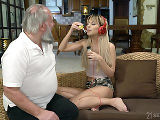 Licentious step granddaughter Sarah Cute gives a blowjob and gets her pussy nailed